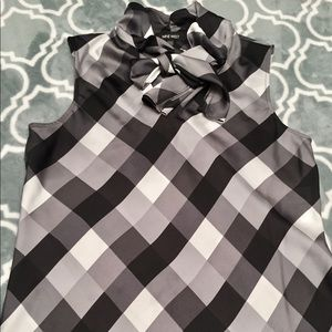 Black and grey blouse with bow